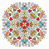 Colorful Emblem with Flowers and Hearts Royalty Free Stock Photo