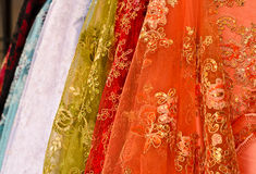 Colorful embroidered spangles and bead fabric Royalty Free Stock Photos