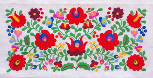 Colorful embroidery. Traditional Hungarian embroidery with floral motives Stock Photos
