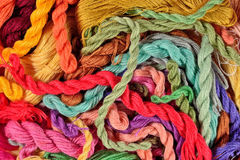 Colorful embroidery floss background Stock Photo