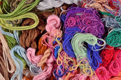 Colorful embroidery floss background Royalty Free Stock Image