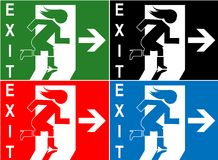 Colorful emergency exit sign symbol Royalty Free Stock Photos