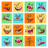 Colorful emoticon faces vector illustration. Cute mood icons or facing emoticons Stock Images