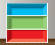 Colorful empty bookshelf Royalty Free Stock Photography