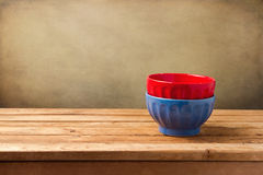 Colorful empty bowls Stock Photography