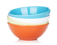 Colorful empty bowls Royalty Free Stock Images