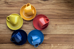 Colorful empty coffee cups. Royalty Free Stock Image