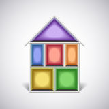 Colorful empty house rooms in cut vector Royalty Free Stock Image