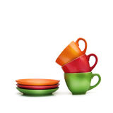 Colorful empty mugs over white background Stock Photo
