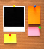 Colorful empty notes and photo frame Royalty Free Stock Image