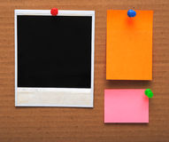 Colorful empty notes and photo frame Stock Image