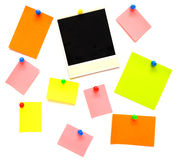 Colorful empty notes and photo frame Stock Photography