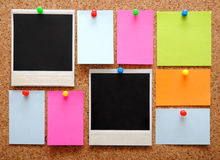 Colorful empty notes and photo frames Royalty Free Stock Image