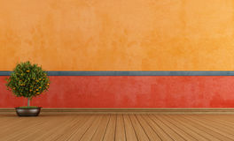 Colorful empty vintage room royalty free illustration