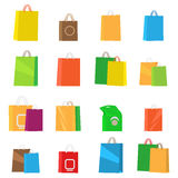 Colorful Empty Shopping Bags. Isolated Vector Set. Colorful empty shopping bags isolated vector set. Shopping bags, fashion design, store merchandise, handle Stock Image