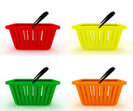 Colorful empty shopping basket Stock Photos