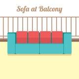 Colorful Empty Sofa At Balcony Stock Photo