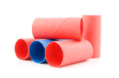 Colorful empty toilet paper rolls Stock Photo