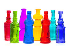 Colorful empty transparent glass bottles Royalty Free Stock Image