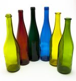 Colorful Empty Wine Bottles in an Arc Stock Photo