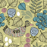 Colorful endless background with nature elements and doodle bird. Royalty Free Stock Image