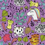 Colorful endless pattern with cartoon skull and dead unicorns. Royalty Free Stock Image