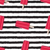 Colorful endless pattern of ice cream on a striped background in royalty free stock images