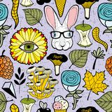 Colorful endless pattern with rabbit in glasses and plants. Vector illustration Royalty Free Stock Photos
