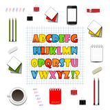 Colorful English alphabet on the background grid Stock Photography