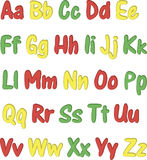 Colorful English alphabet different colors on a white background Stock Image
