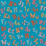 Colorful english alphabet seamless pattern. In retro style royalty free illustration