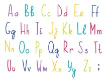 Colorful English or latin alphabet, cute and funny, for children theme. Handdrawn letters. Vector graphics. Cartoon style royalty free illustration