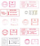 Colorful english postmarks. Black and red english postmarks Stock Image
