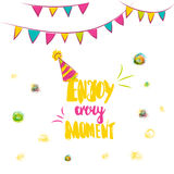 Colorful Enjoy Every Moment hand lettering. Scalable and editable enjoy every moment vector illustration. Enjoy every Royalty Free Stock Image