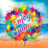 Colorful enjoy summer splash banner with beach background Royalty Free Stock Photo