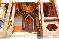 Colorful Changri Monastery Entrance, Bhutan. Colorful entrance into Changri Monastery in the mountains of Bhutan Royalty Free Stock Photography