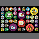 Colorful envelope icons in color circle Stock Image