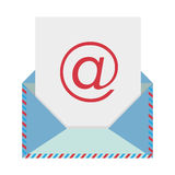 Colorful envelope with mailing sheet and at sign. Illustration Royalty Free Stock Images