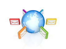 Colorful envelopes around globe. Royalty Free Stock Image