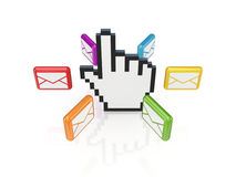 Colorful envelopes around large cursor. Stock Photography