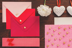 Colorful envelopes and hearts Stock Photos