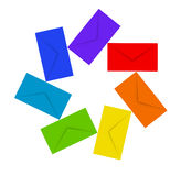 Colorful envelopes isolated on white Royalty Free Stock Photos