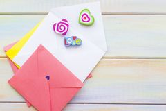 Colorful envelopes for love letters stock photos