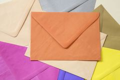 Colorful envelopes royalty free stock photography