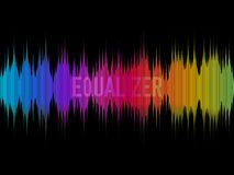 Colorful equalizer on dark background. Rainbow waves. Color music concept. Waveform design. Visualization of sound. Vector illustration Royalty Free Stock Photos