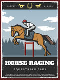 Colorful Equestrian Sport Poster. With jockey riding stallion on horse racing in vintage style vector illustration Royalty Free Stock Photo