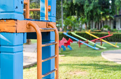 Colorful equipment in playground. Part of playground equipment in park Royalty Free Stock Image