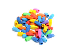 Colorful Erasers. Assorted Colorful Pencil Cap Erasers Royalty Free Stock Photography
