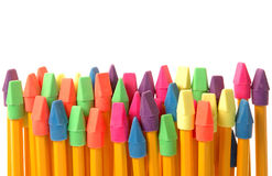 Colorful erasers on pencils Stock Images