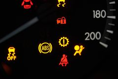 Colorful error sign on car dashboard royalty free stock photos